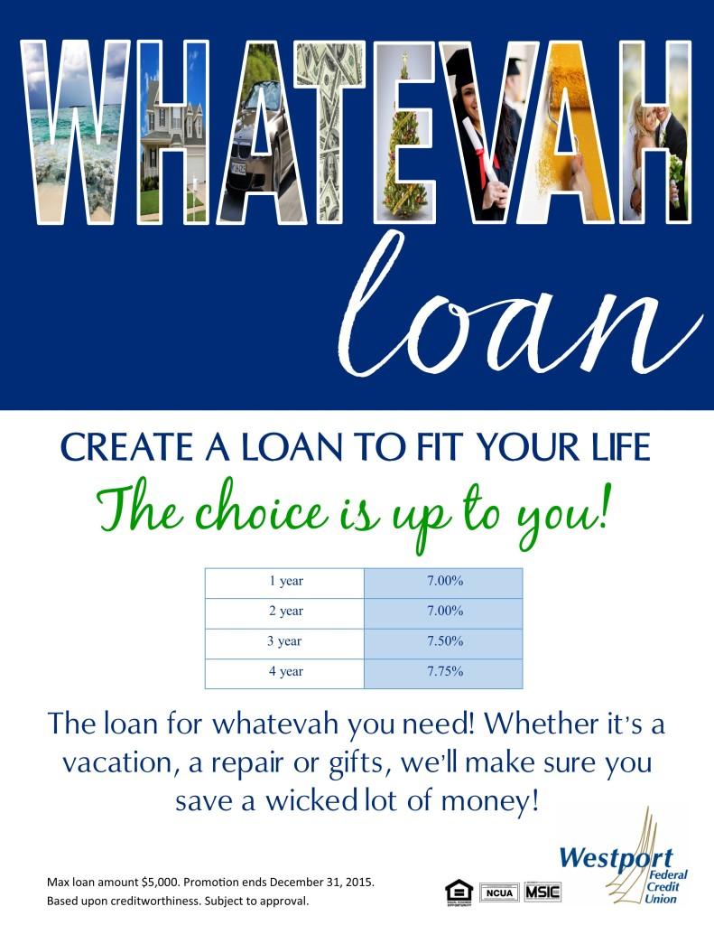 Westport Federal Credit Union Whatevah loan