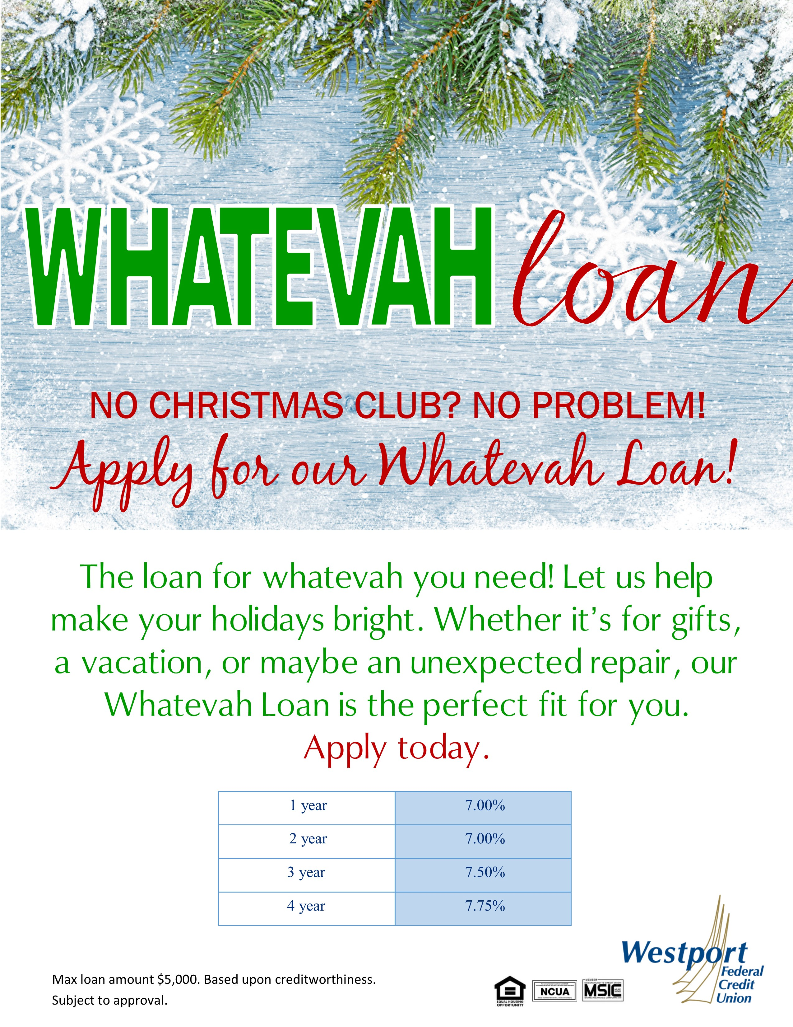 Christmas Loan Promotions.Personal Loan Westport Federal Credit Union