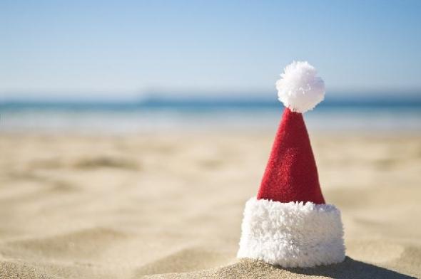 santa hat beach